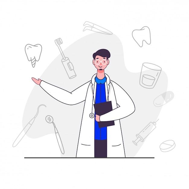 Caractère De Médecin Homme Avec Des Icônes Dentaires D'art En Ligne Sur Fond Blanc. Vecteur Premium