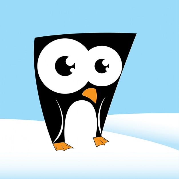 Caractère mignon de pingouin Vecteur gratuit