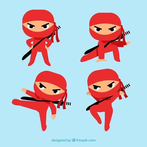 Caractère ninja dans différentes poses avec un design plat Vecteur gratuit