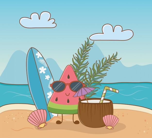 Caractère de pastèque tropicale sur la scène de la plage Vecteur Premium