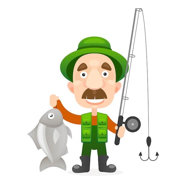 Caractère de pêcheur heureux détiennent de gros poissons. Vecteur Premium