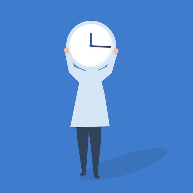 Caractère d'une personne avec une horloge en guise d'illustration Vecteur gratuit