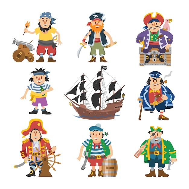 Caractère Pirate Pirate Homme Boucanier En Costume De Piratage Avec Chapeau Avec épée Illustration Ensemble De Pirate Marin Personne Et Navire Ou Voilier Sur Fond Blanc Vecteur Premium