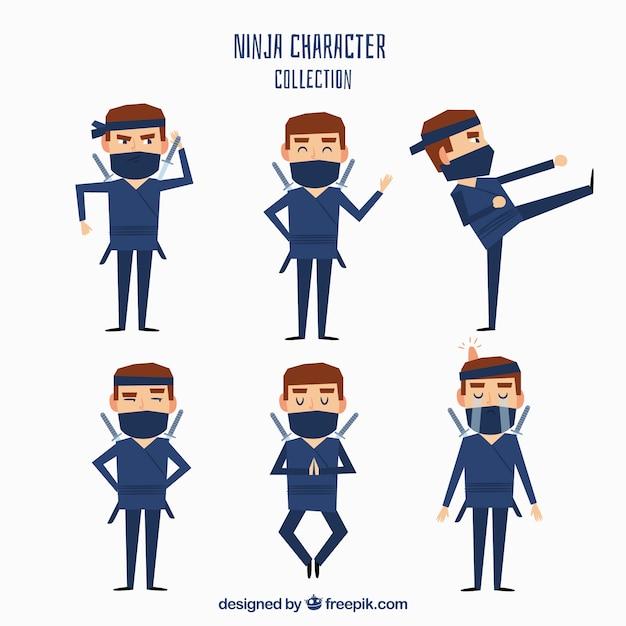 Caractère plat ninja dans différentes poses Vecteur gratuit