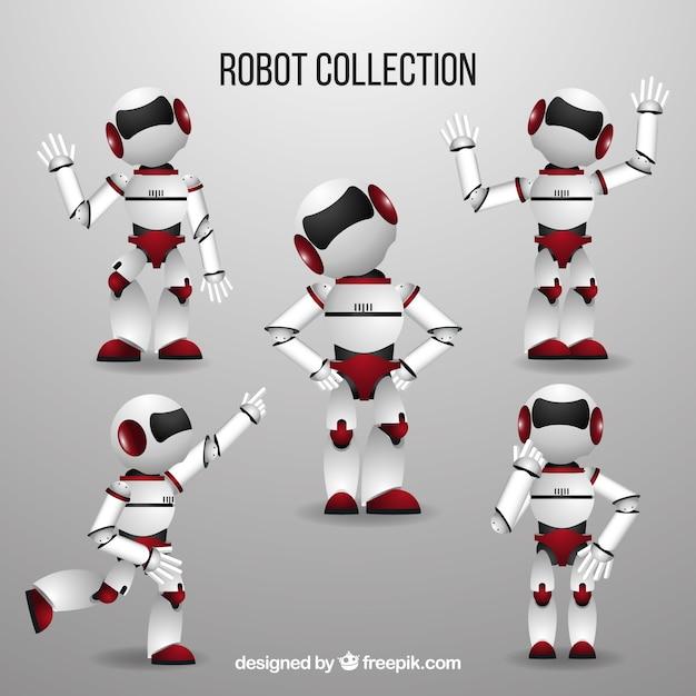 Caractère De Robot Réaliste Avec Différentes Poses Collection Vecteur gratuit