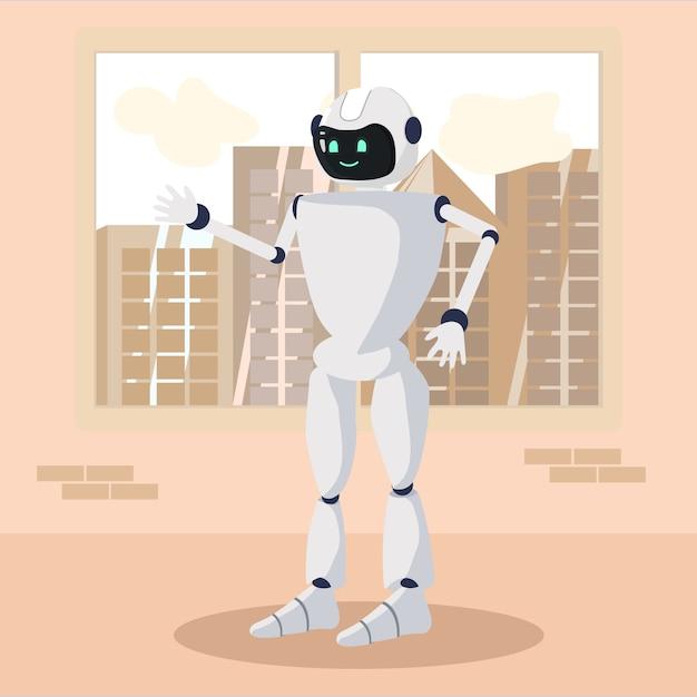 Caractère robotique positif se tenant et saluant Vecteur Premium