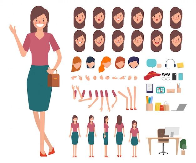 Caractère shopping jeune femme prêt pour la bouche d'animation. Vecteur Premium