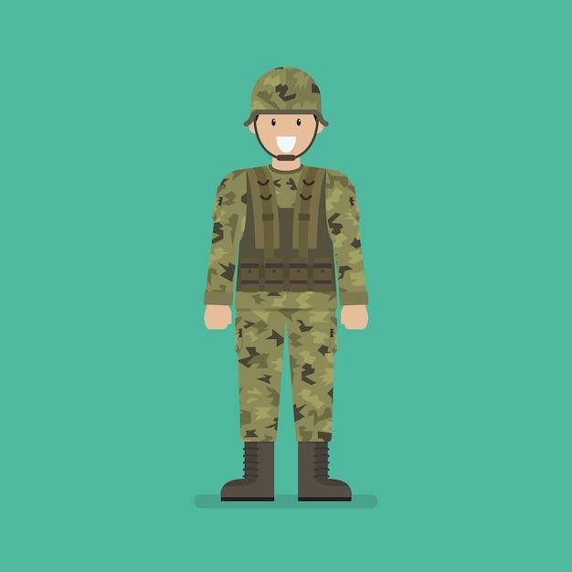 Caractère soldat de l'armée Vecteur Premium