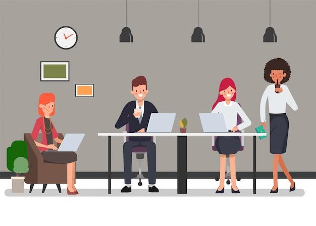 Caractère de travail d'équipe de gens d'affaires pour la scène d'animation. Vecteur Premium