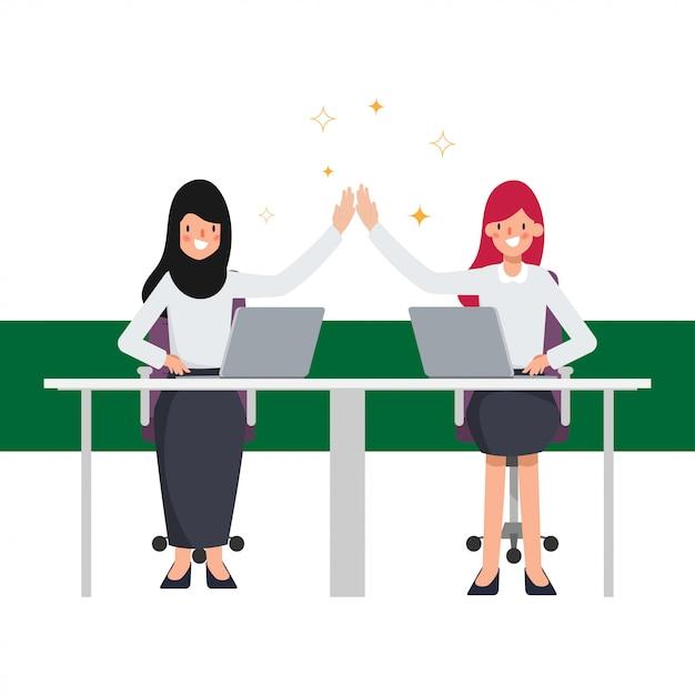Caractère de travail d'équipe des personnes arabes d'affaires. les affaires réussissent dans le travail. Vecteur Premium