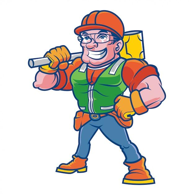 Caractère De Travailleur De La Construction Vecteur Premium