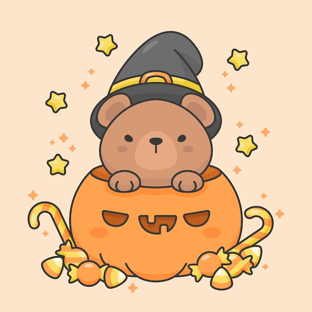 Caractère de vecteur d'ours mignon dans une citrouille avec des bonbons et des étoiles costume d'halloween Vecteur Premium