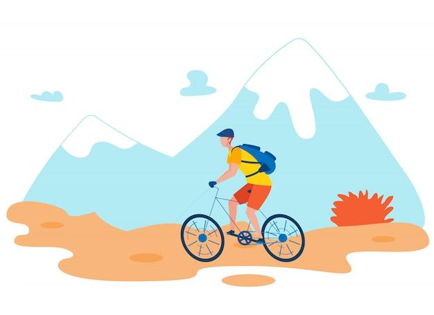 Caractère de vecteur plat vélo de randonneur équitation Vecteur Premium