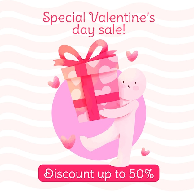 Caractère De Vente Aquarelle Valentine Avec Boîte-cadeau Vecteur gratuit