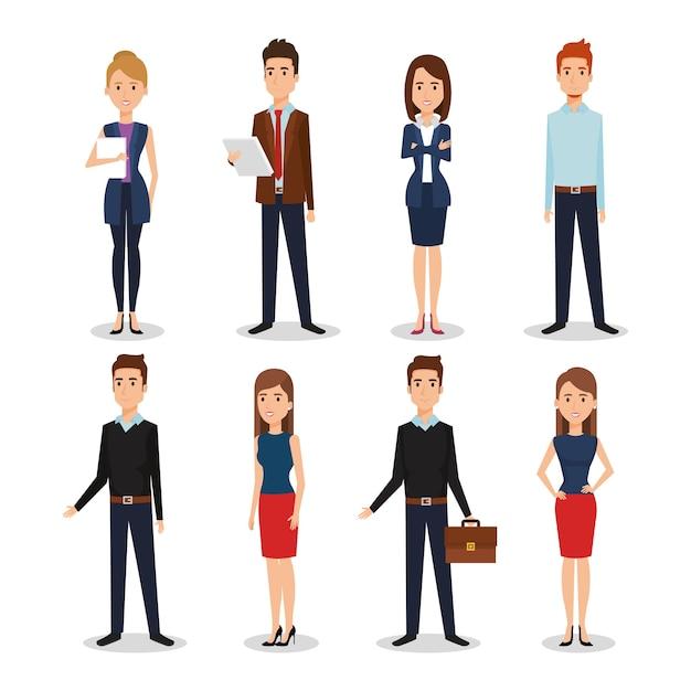 Caractères d'avatars de groupe de gens d'affaires Vecteur Premium