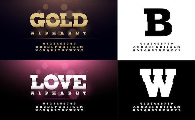 Caractères et chiffres de l'alphabet en or et argent Vecteur Premium