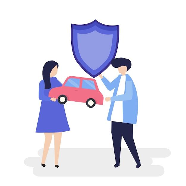 Caractères d'un couple tenant une voiture et illustration de bouclier Vecteur gratuit