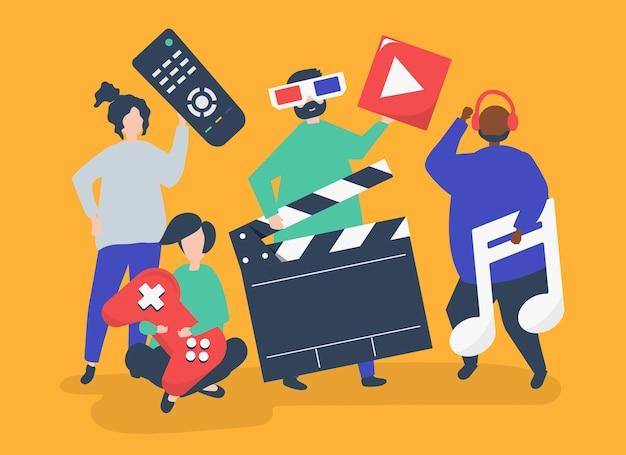 Caractères de personnes détenant des icônes multimédia illustration Vecteur gratuit