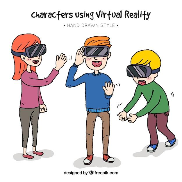 Caractères dessinées à la main en utilisant des lunettes de réalité virtuelle Vecteur gratuit