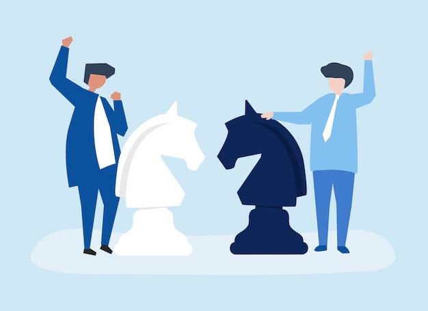 Caractères de deux hommes d'affaires jouant l'illustration d'échecs Vecteur gratuit