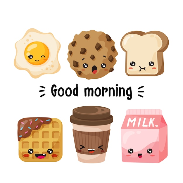 Caractères du petit déjeuner Vecteur Premium