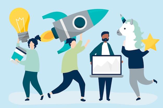 Caractères de gens tenant des icônes de concept de création d'entreprise Vecteur gratuit