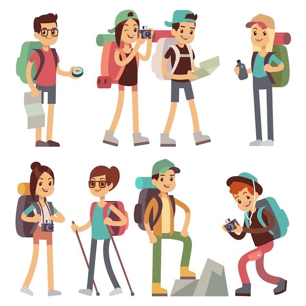 Caractères de gens touristes pour la randonnée et le trekking, concept de vecteur de voyage vacances. caractère touristique homme et femme, randonneur et illustration du tourisme Vecteur Premium