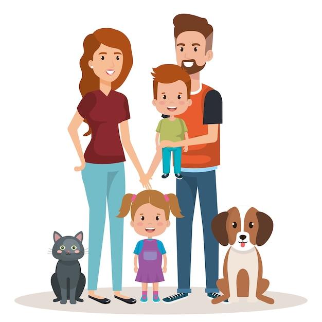Caractères heureux et familiers de famille mignon Vecteur Premium