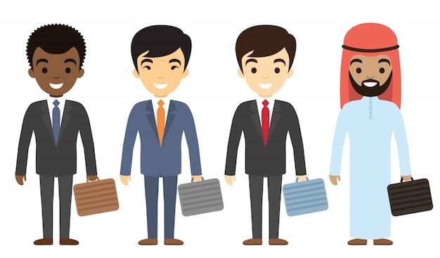 Caractères d'hommes d'affaires d'ethnie différente dans un style plat. personnel de bureau masculin international. Vecteur Premium