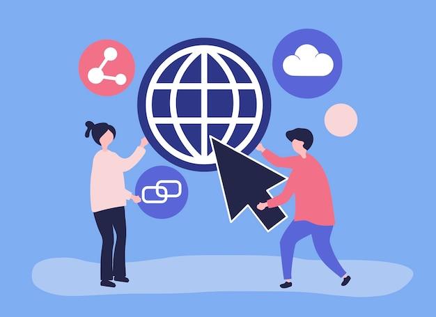 Caractères et illustration du concept de communication globale Vecteur gratuit