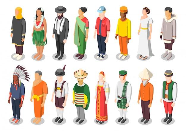 Caractères Isométriques De La Culture Mondiale Multinationale Vecteur gratuit