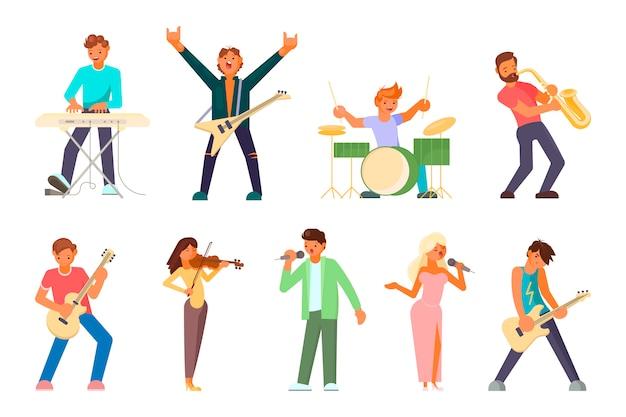 Caractères de musiciens et chanteurs Vecteur Premium