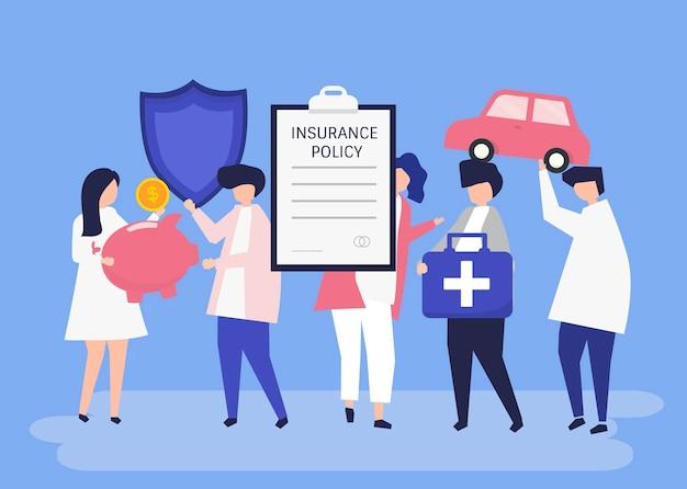 Caractères de personnes détenant des icônes d'assurance illustration Vecteur gratuit