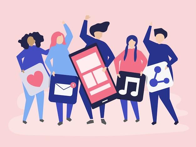 Caractères des personnes détenant des icônes de réseaux sociaux Vecteur gratuit