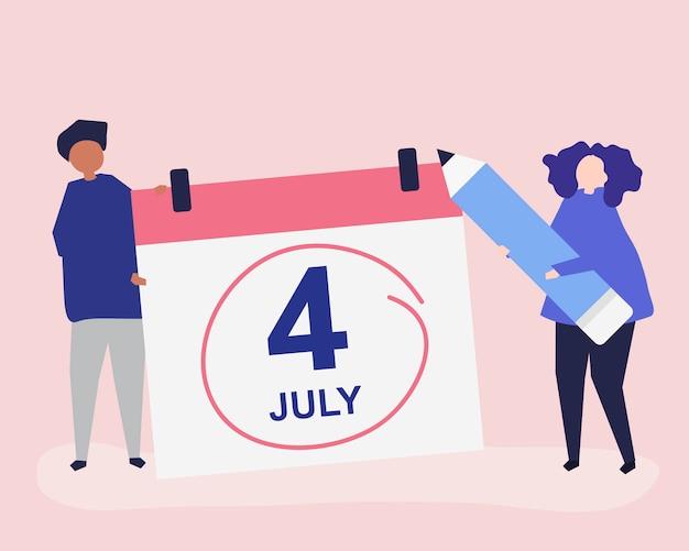 Caractères de personnes et illustration de concept fourth of july Vecteur Premium