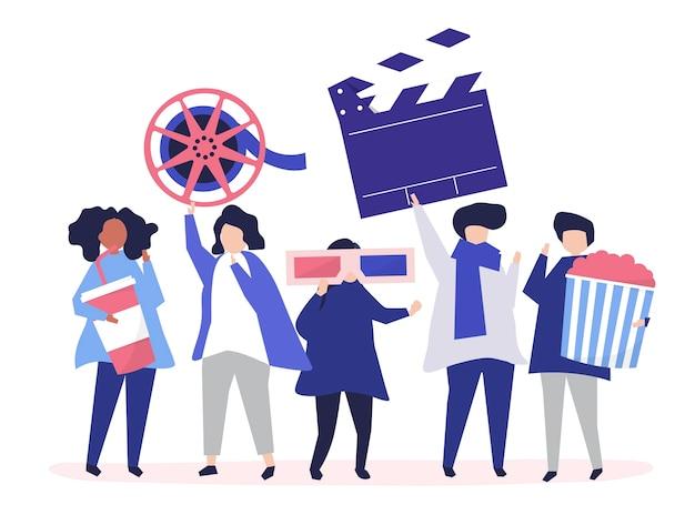 Caractères des personnes tenant une illustration d'icônes de film Vecteur gratuit
