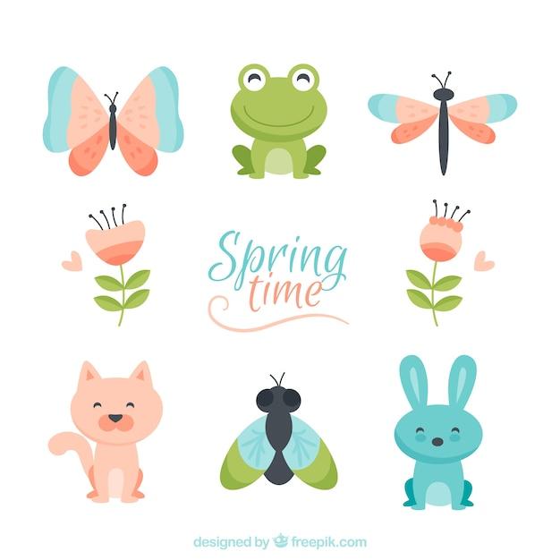 Caractères de printemps mignon Vecteur gratuit