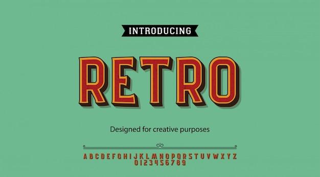 Caractères rétro.pour étiquettes et dessins de types différents Vecteur Premium