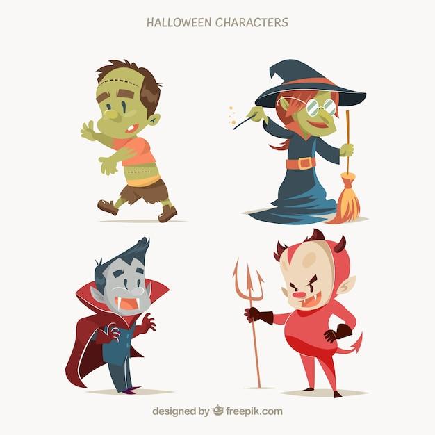 Caractères typiques de halloween dans un style mignon Vecteur gratuit