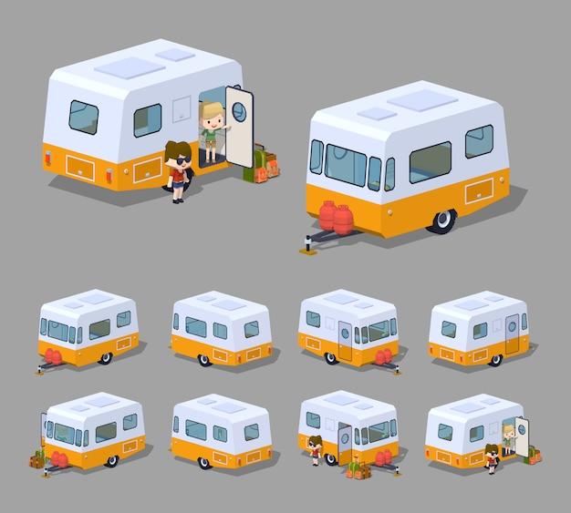 Caravane de camping isométrique rétro 3d lowpoly Vecteur Premium