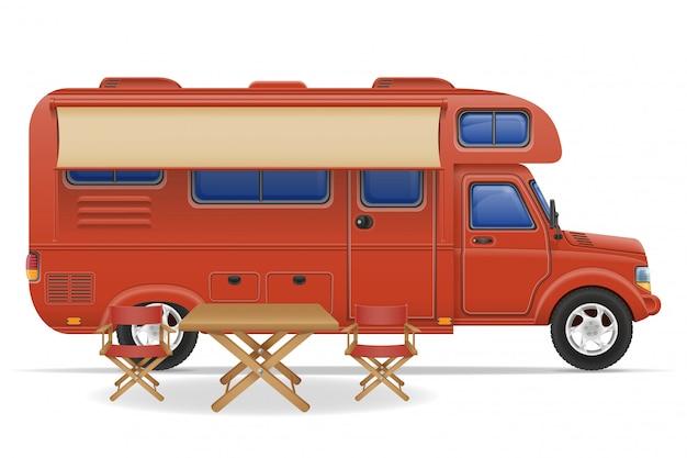 Caravane caravane camping car Vecteur Premium