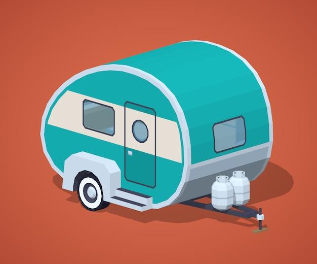 Caravane isométrique 3d rétro turquoise Vecteur Premium