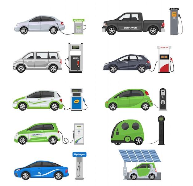 Carburant véhicule alternatif vecteur équipe-voiture ou camion à essence et solaire-fourgonnette ou essence station illustration Vecteur Premium