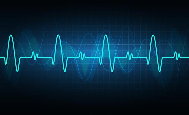 Cardiofréquencemètre bleu avec signal. battement de coeur. icône. ekg Vecteur Premium