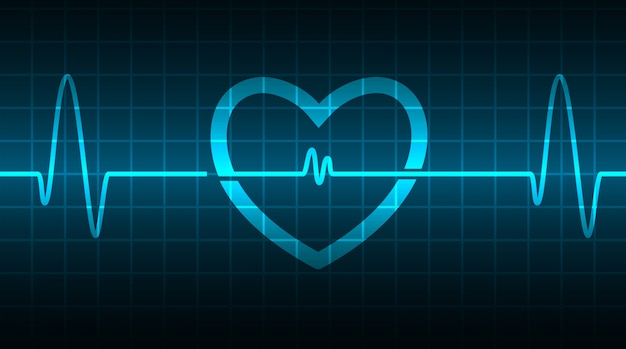 Cardiofréquencemètre blue heart avec signal. battement de coeur. ekg icon wave Vecteur Premium