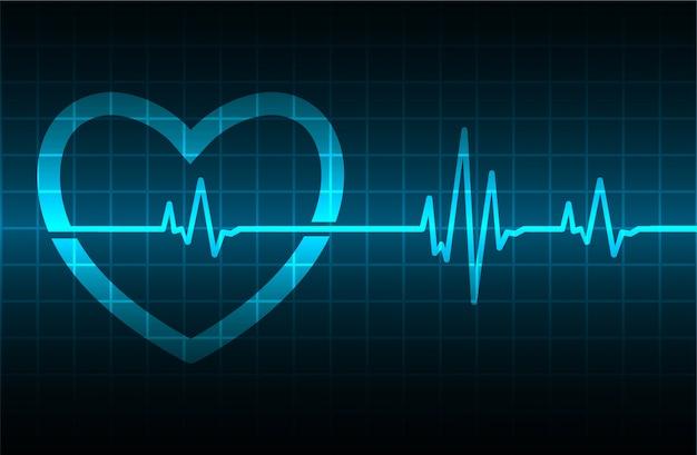 Cardiofréquencemètre blue heart avec signal Vecteur Premium