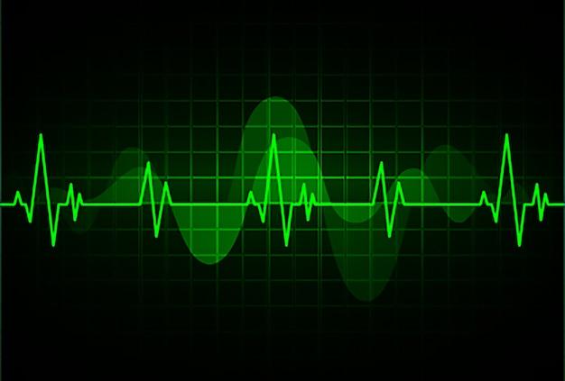 Cardiofréquencemètre vert avec signal. battement de coeur. ekg icon wave Vecteur Premium