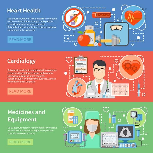 Cardiologie bannières plates Vecteur gratuit