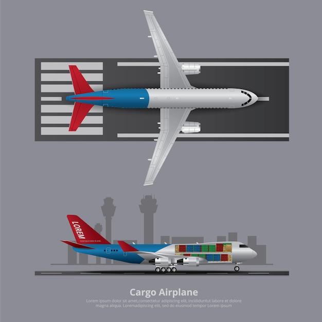 Cargo, avion, isolé, vecteur, illustration Vecteur Premium