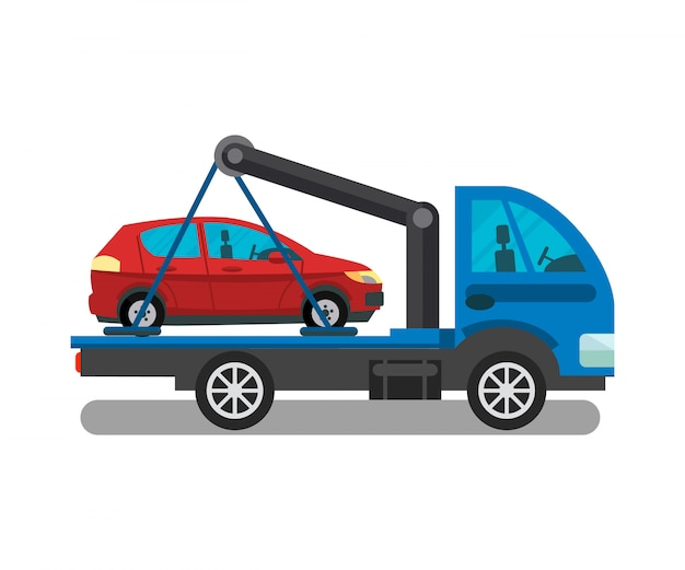 Cargo transportation service flat illustration Vecteur Premium